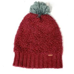 Free People Burgundy Beanie Pom Cap Hat Maroon